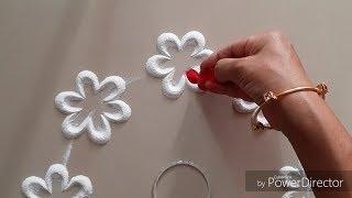 Download Beautiful flowers and leaves Rangoli design by Aarti shirsat   Top Rangolis Video