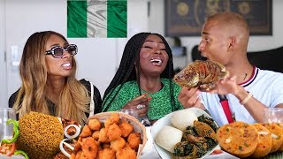 Download NIGERIAN FOOD MUKBANG | AMERICANS TRY THE BEST JOLLOF RICE | Shalom Blac Video