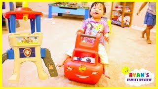 Download Emma and Kate play with Step2 roller coaster Lightning McQueen and Paw Patrol Lookout Tower Slide Video
