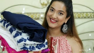 Download Online kurtis Suits Sarees Haul + Giveaway (Closed) #Haul Week with Perkymegs Video