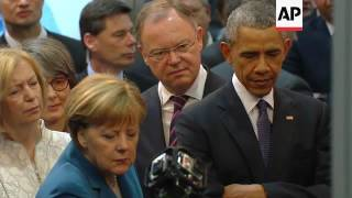 Download Obama and Merkel tour technology fair Video