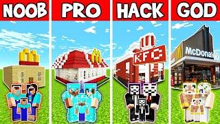 Download Minecraft: FAMILY MODERN FAST FOOD RESTAURANT BUILD CHALLENGE - NOOB vs PRO vs HACKER vs GOD Video