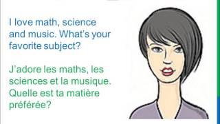 Download Dialogue 28 - English French Anglais Français - What's your favorite subject? - Matière préférée Video