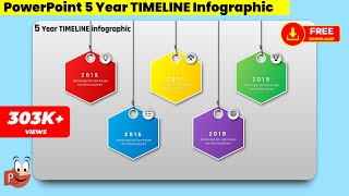 Download 6.Create 5 Year HEXAGONAL TIMELINE infographic/PowerPoint Presentation/Graphic Design/Free Template Video