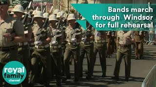 Download Bands march through streets of Windsor for full dress-rehearsal of Royal Wedding Video