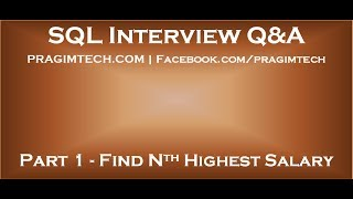 Download Part 1 How to find nth highest salary in sql Video