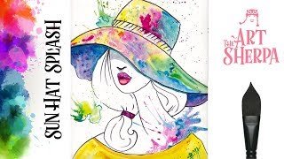 Download Beginners How to paint with watercolor a Fashion Girl with Splashy Hat Video