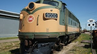 Download CN 9000 F3 at Alberta Railway Museum May 17 2015 - startup, cab ride, drone shots, Video