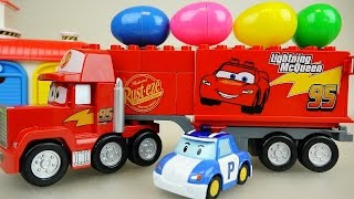 Download Cars truck surprise eggs and Robocar Poli car toys Video