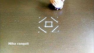 Download Small Lines rangoli video 4x4 dots*Easy Kolam designs*Easy rangoli design with lines*Padi kolam easy Video
