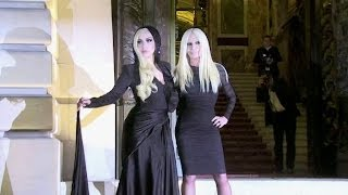 Download Lady Gaga and Donatella Versace photocall at 2014 Versace show in Paris Video