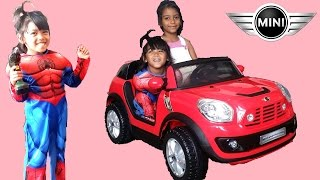 Download Spiderman Unboxing Mini Cooper Beachcomber! Surprise Red 12V Ride On Car Test Drive Playtime in Park Video