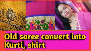 Download Old saree convert into kurti, skirt Video