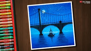 Download Night Bridge scenery drawing with Oil Pastels - step by step Video