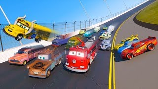 Download Race Cars 3 Daytona Miss Fritter Tow Truck Mater Smokey Red Fire Trucks McQueen and Friends for Kids Video