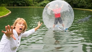 Download MONSTER IN POND!! (TRAPPED INSIDE GIANT BUBBLE BALL) Video
