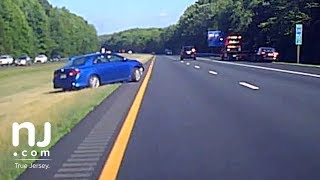 Download Dashcam captures out-of-control driver on New Jersey Highway Video
