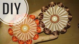 Download DIY || Cara Membuat Bros Bunga Galau / Kanzashi Flower 09 🌸 - Lista Tsurayya Tutorial Video