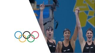 Download USA Set New Women's 4 x 200m Freestyle Relay Olympic Record - London 2012 Olympics Video