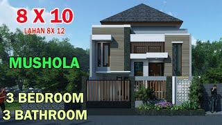 Download rumah minimalis split level 1.5 lantai 8x10 meter 3 kamar 4 toilet ruang kerja musholla lahan 8x12 Video