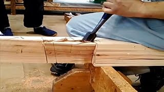 Download Amazing Woodworking Fastest Hand craft Cutting Skills - Rabbeted Oblique Scarf Joint Video