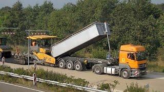Download Asphaltarbeiten auf der Autobahn 31 / Asphalt paving on the highway 31 in Germany Video