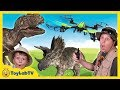 Download T-Rex Drone vs Park Ranger Aaron & Life Size Dinosaurs In Real Life & Surprise Toys Fun Kids Video Video