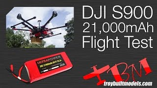 Download DJI S900 Battery Flight Time Test TBM 21,000mAh Lightbridge + Nex-7/GH3/GH4/BMPCC Zenmuse 17.2lbs Video