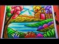Download Cara Menggambar dan Mewarnai Pemandangan Alam rumah, gunung dan danau | Drawing Scenery Video