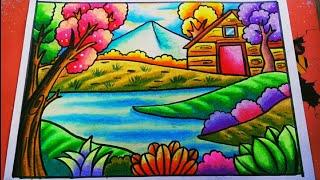 Gambar Pemandangan Indah Dengan Crayon Gambar Hq