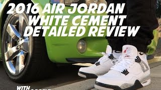 Download 2016 Air Jordan 4 White Cement OG Detailed Shoe Review On Feet + Comparison Video