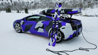 Download Skiing & Snowboarding Behind a Lamborghini Video