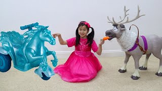 Download Jannie Pretend Play with Frozen Sven Reindeer and Water Nokk Ride On Toys Video