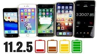 Download iPhone SE vs iPhone 7 vs iPhone 8 vs iPhone X iOS 11.2.5 Battery Drain Test! Video