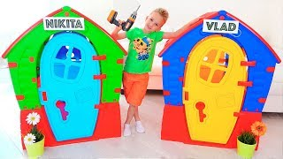 Download Nikita Pretend Play with Balls | Kids ride on toy cars and play with Mom Video