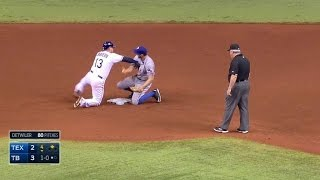 Download TEX@TB: Benches clear after a pickoff attempt Video