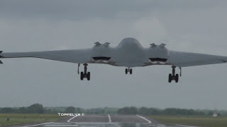 Download B-2 Spirit Stealth bombers landing on English soil RAF Fairford Fantastic batwing shape aircraft ! Video