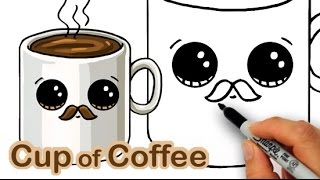 Download How to Draw a Cartoon Cup of Coffee Cute and Easy with Mustache Video