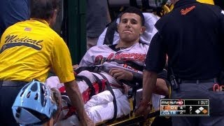Download Machado injures knee, exits on stretcher Video