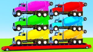 Download LEARN COLORS for Kids w TRUCK on LONG CAR And Superhero Spiderman Cartoon for Children Video