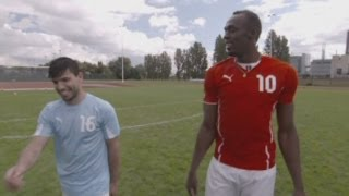 Download Usain Bolt vs. Sergio Aguero: Sprinter tries to trick Man City striker ahead of Manchester derby Video