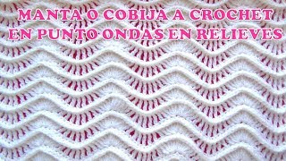 Download MANTA O COBIJA A CROCHET paso a paso en punto ONDAS EN RELIEVES Video