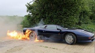 Download Flaming Jaguar XJ220 Burnout Video
