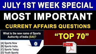 Download Weekly Current Affairs | July 2018 First Week Current Affairs | July 2018 Current Affairs in English Video