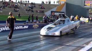 Download Aaron Hambridge Top Alcohol drag race crash -v- Steven Ham - Perth Motorplex 30.01.2010 Video