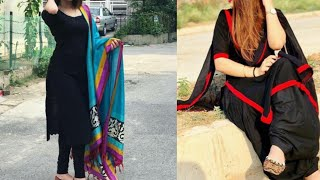 Download Black suit design ideas/plain black kurta with contrast dupatta design ideas Video