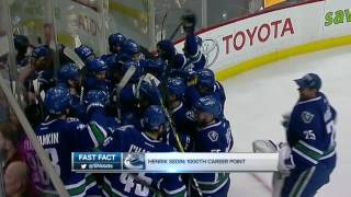 Download Henrik Sedin makes history in Vancouver, as the Canucks top Panthers Video