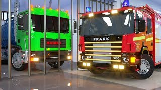 Download Water Tank in Cage by Fire Truck Frank and Sergeant Lucas the Police Car - Wheel City Heroes Cartoon Video
