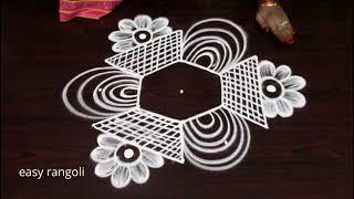 Download Latest trendy rangoli n kolam designs with 5 dots || Muggulu Video