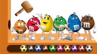 Download Learn Colors with WOODEN FACE HAMMER XYLOPHONE GIANT M&M Chocolates Soccer Balls for Kids Video